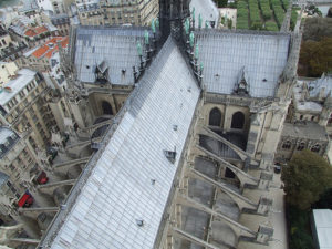 Flying buttresses supporting the arches of the Notre Dame cathedral.