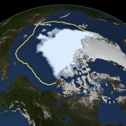 Arctic sea ice covers a smaller area than any time in the satellite era. Climate change