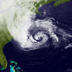 Satellite photo of Super Storm Sandy one day before devastating New York City.