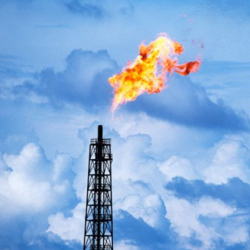 Oil well natural gas flame