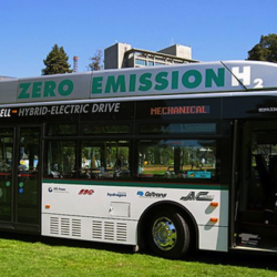 Hydrogen fuel cell bus in Oakland, California.