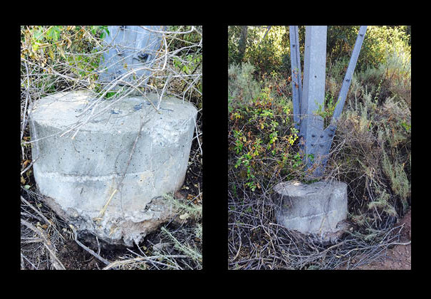 Footings from the high voltage transmission towers that bring power to Santa Barbara.